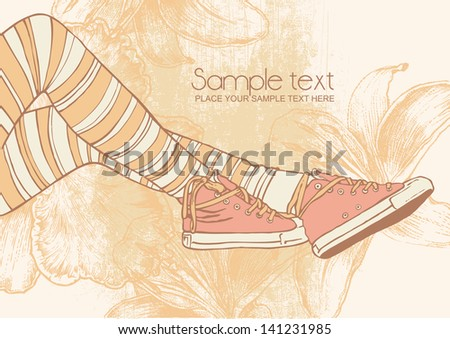 Female legs in striped stockings and sneakers and floral background. vector illustration - stock vector