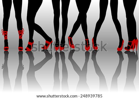 Female legs silhouettes with red shoes - stock vector
