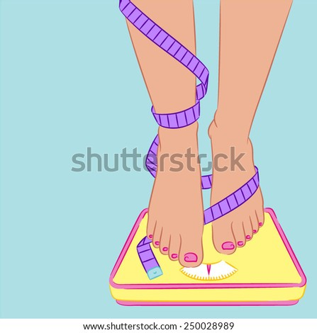 Female legs with tape measure on a scale - stock vector