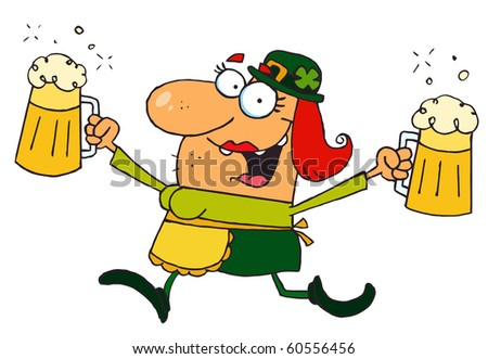 Female Leprechaun Running With Beers - stock vector