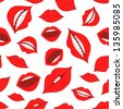 Female lips seamless pattern on a white background - stock vector