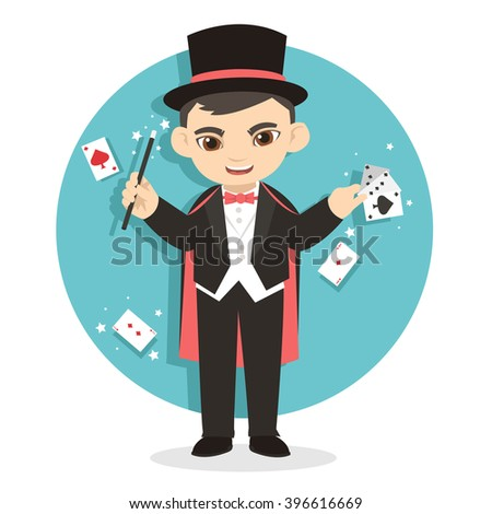 Female Magician Showing her Talent of Card Magic Trick - stock vector