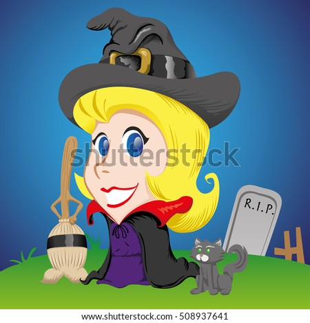 female mascot, blonde girl witch with broom and black cat. Ideal for celebratory material and institutional