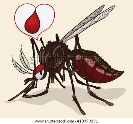 Female mosquito full with a heart-shape speech balloon symbolizing it's love for the blood. - stock vector