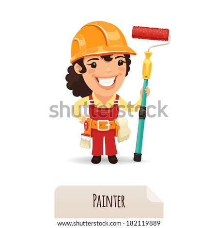 Female Painter. In the EPS file, each element is grouped separately. Isolated on white background. - stock vector