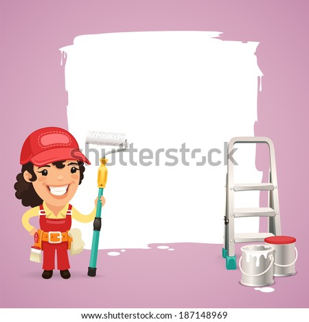 Female Painter With Text Box In the EPS file, each element is grouped separately. - stock vector