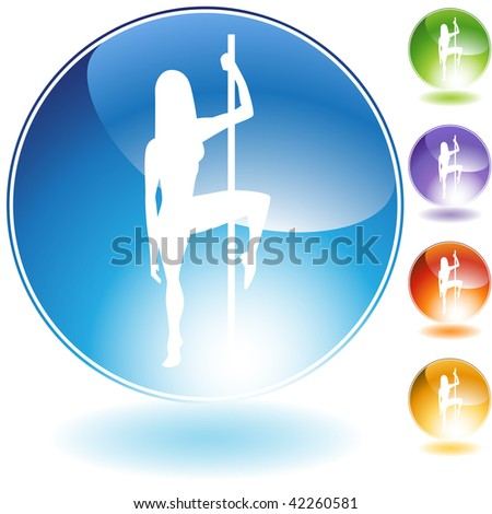 Female pole dancer crystal icon isolated on a white background. - stock vector