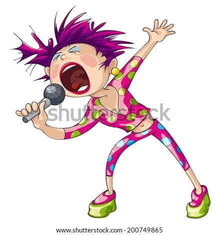 Female pop singer vector cartoon isolated on white background. - stock vector