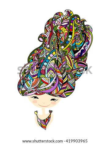 Female portrait, ornate hairstyle for your design - stock vector