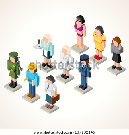 Female Professional People. 3D Vector Icons. Set of Isometric Figures of Businesswoman, Waiter, Model, Soldier, Pharmacologist, Engineer, Office Girl and Clerk. - stock vector