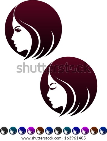Female profile, symbol of female hairstyles, vector illustration - stock vector