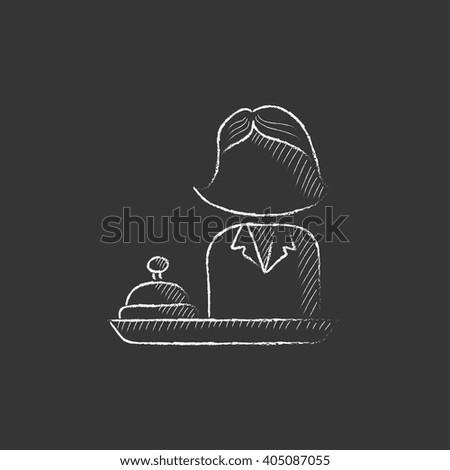 Female receptionist. Drawn in chalk icon. - stock vector
