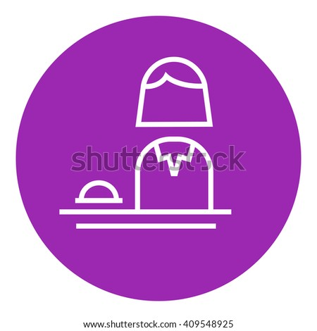Female receptionist line icon. - stock vector