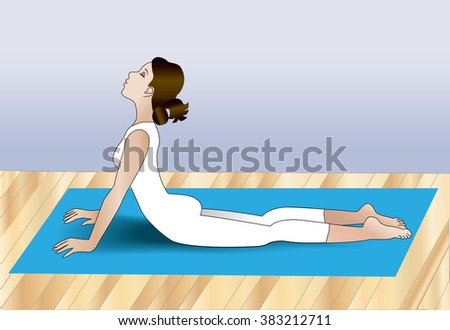 Female relaxing by stretching her back utilizing the cobra pose from yoga