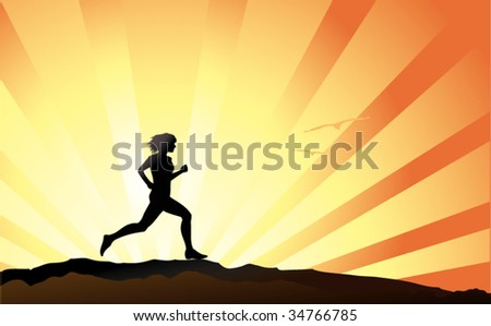 Female runner silhouette with sunset sky as backdrop - stock vector
