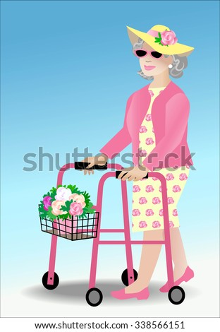 Female senior citizen using walker that contains a pot of flowers