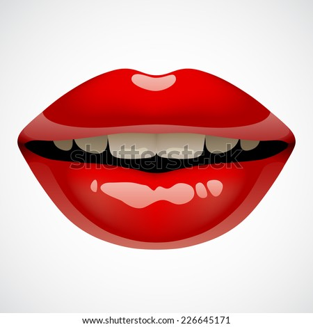 Female sexy red lips. Vector isolated Image of vivid open mouth of woman - stock vector