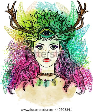 Female shaman with third eye, Feathers, horns . Alchemy, religion, spirituality, occultism, tattoo line zentangle hipster art, coloring books. Watercolor, chalk pastels pencils texture vector - stock vector