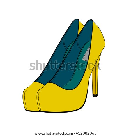 female shoes in vector