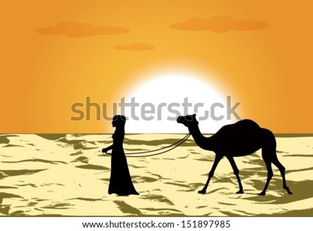 female silhouette leads a camel through the desert at sunset - stock vector