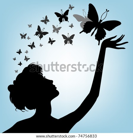 Female silhouette on a blue background with butterfly - stock vector