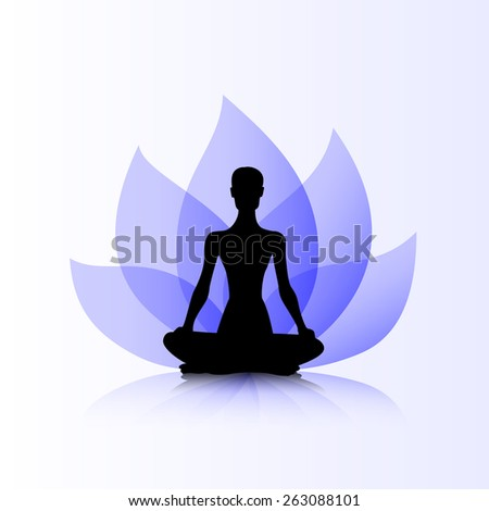 Female silhouette on the purple lotus background - stock vector