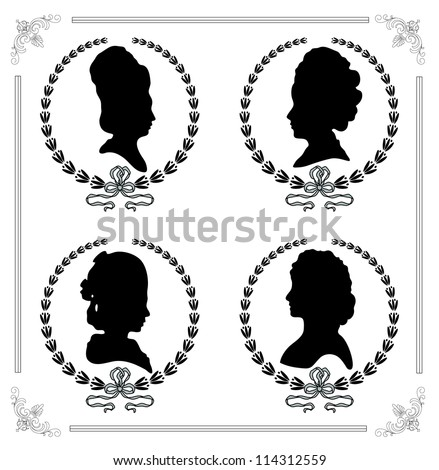 Female silhouettes in profile as a cameo - stock vector