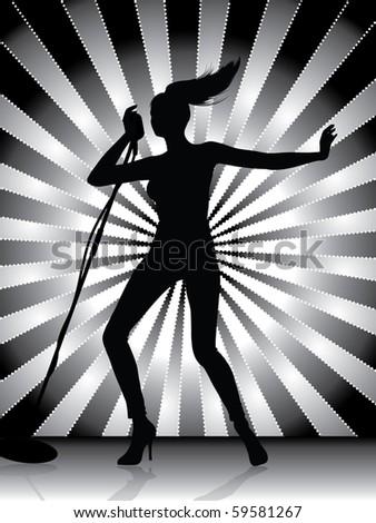 Female singer silhouette - stock vector