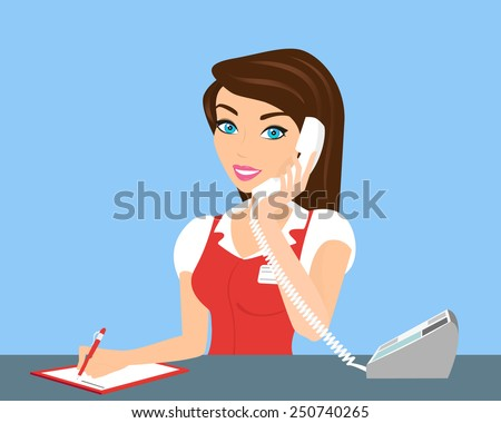 Female smiling call centre operator with telephone. - stock vector