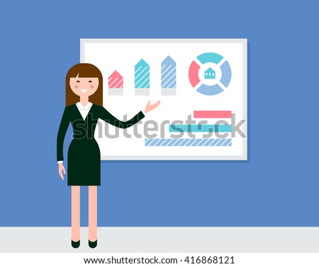 Female Speaker Giving Presentation Using Diagrams and Charts