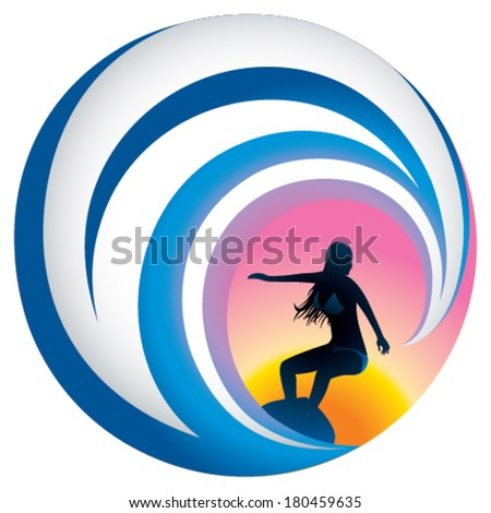 female surfer in sunset on white isolated background