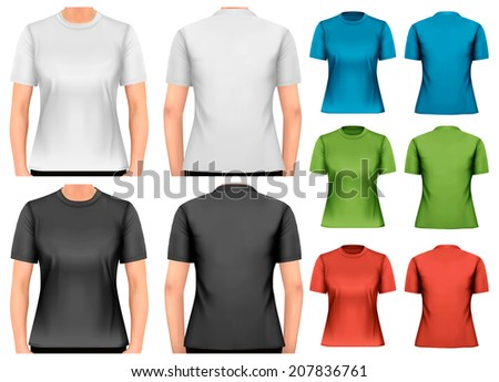 Female t-shirts. Design template. Vector. - stock vector