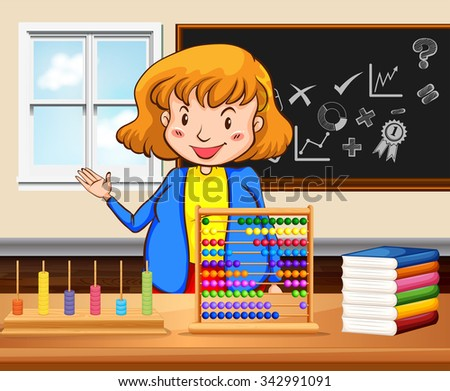 Female teacher teaching in the classroom illustration - stock vector