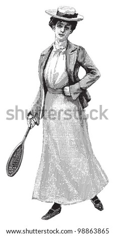 Female tennis player / vintage illustration from Die Frau als hausarztin 1911 - stock vector