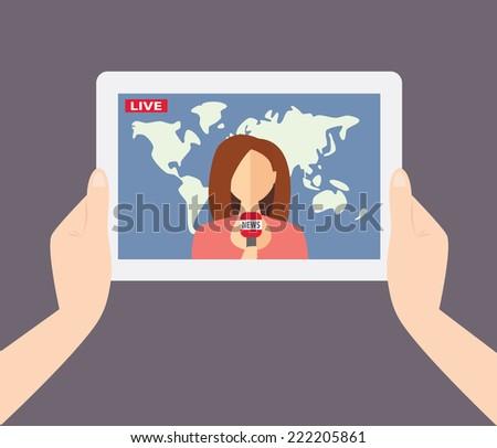 Female TV presenter, reporter, journalist, correspondent tells live news. Illustration EPS10 - stock vector