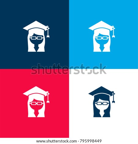 Female university graduate with cap on head and eyeglasses four color material and minimal icon logo set in red and blue