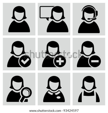 Female user avatars icons set. - stock vector