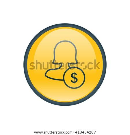 Female user earnings icon - stock vector