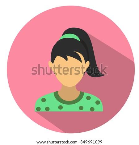 female user icon - flat icon - stock vector