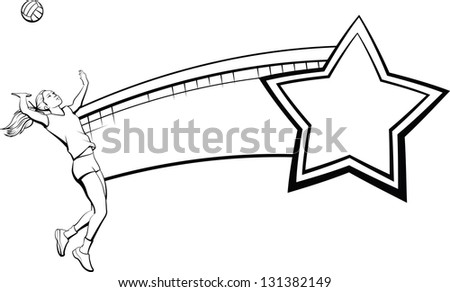 Female Volleyball Player, Net and Star - stock vector