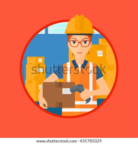 Female warehouse worker scanning barcode on box. Warehouse worker checking barcode of box with a scanner. Warehouse worker in hard hat with scanner. Vector flat design illustration in the circle. - stock vector