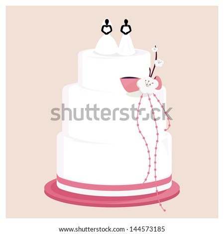 Female wedding cake with pink bow and flower