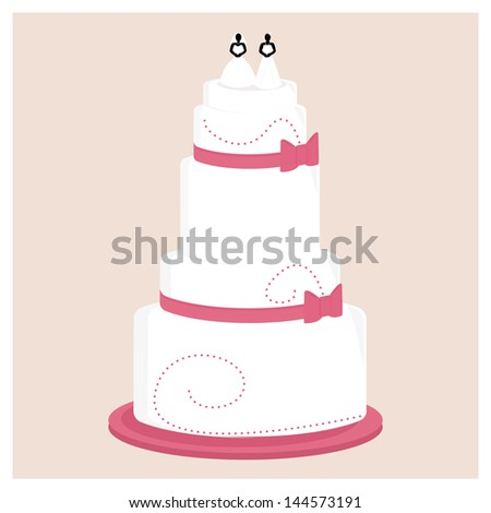 Female wedding cake with pink bows