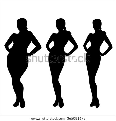 Female weight  silhouette,Three different girls, vector illustration. - stock vector