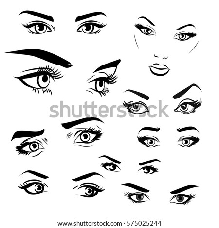 female woman eyes brows image collection stock vector
