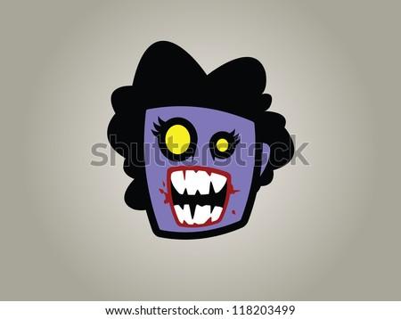 Female Zombie Head. - stock vector