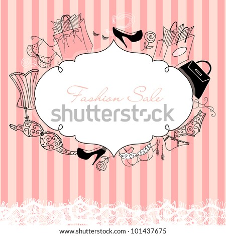 Feminine doodles, gorgeous frame in French style - stock vector