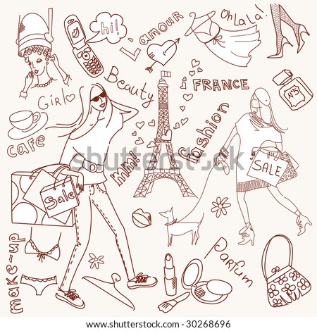 feminine doodles, Shopping in Paris - stock vector