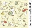 feminine doodles, Shopping madness - stock vector