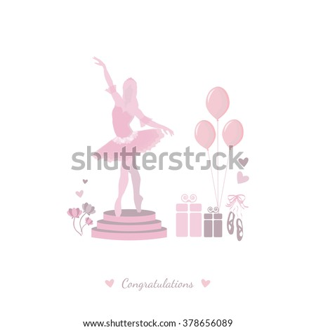 Feminine pattern. Pink, pastel card with presents, balloons, Pointe shoes and ballerina. Greeting card - stock vector